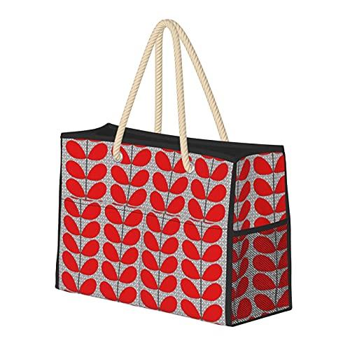 Bolsas de playa para mujer de mediados de siglo danés hojas de color rojo profundo y gris bolsa de viaje bolsa de almacenamiento bolsa de semana bolsa de hombro para la playa, viajes y gimnasio