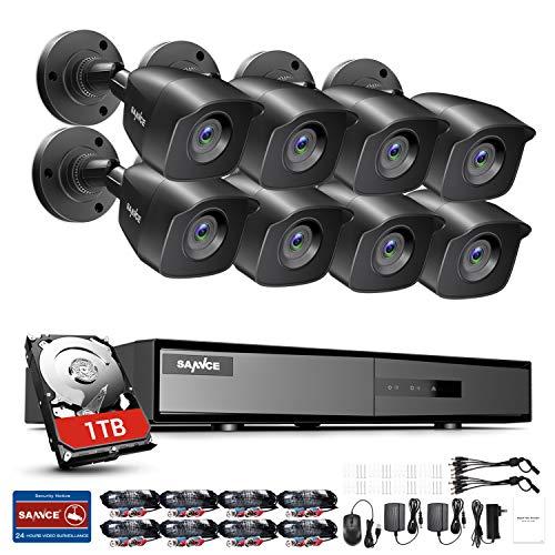 SANNCE Kit di Sorveglianza 1080P Lite DVR TVI 8 Canali 8 Telecamera Sorveglianza Esterno 720P Kit Videosorveglianza 1.0 MP H.264 ONVIF Porta HDMI, Motion Detection, P2P Cloud, Visione Notturna 1TB HDD