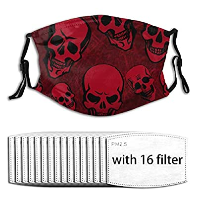 Red Skull Reusable Activated Carbon Filter Face Shield With 16 Filter Replaceable for Men Women
