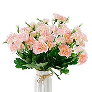 Beferr Artificial Carnation Light Pink Silk Petals Fake Flowers Forever Plants for Home Party Wedding Garden Office Table Decor 4pcs