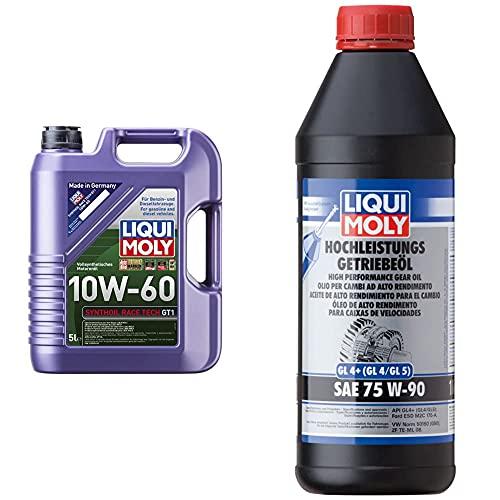 Liqui Moly 8909 Aceite De Motor, Synthoil Race Tech, Gt1, 10W-60, Booklet, 5 L + 4434 Aceite De Alto Rendimiento Para El Cambio, Gl4 +, Sae, 75W-90, 1 L