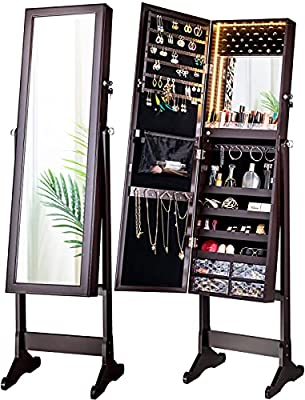 LUXFURNI LED Light Jewelry Cabinet Armoire, Standing Mirror Makeup Lockable Large Storage Organizer w/Drawers (brown, L)