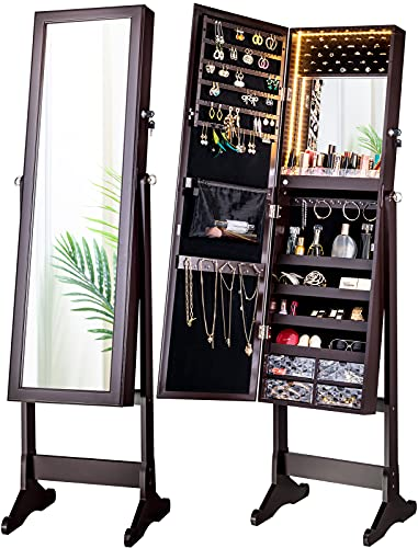 LUXFURNI LED Light Jewelry Cabinet Armoire, Standing Mirror Makeup Lockable Large Storage Organizer w/Drawers (Brown)