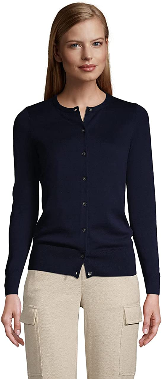 Lands' End Women's Fine Gauge Cotton Cardigan Sweater