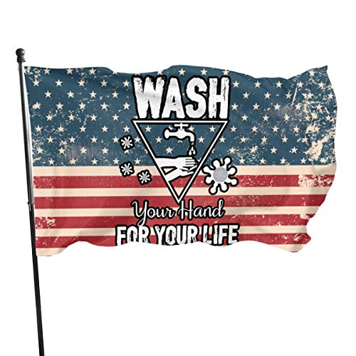 SD3DPrint - Bandera de Coronavirus para lavar las manos y detener (90 x 150 cm)