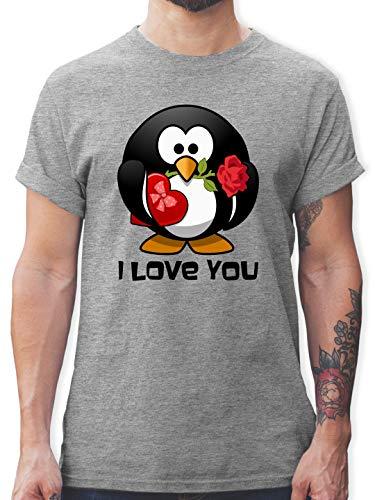 Valentinstag - Pinguin Rose Pralinen Geschenk - L - Grau meliert - Geschenk - L190 - Tshirt Herren und Männer T-Shirts