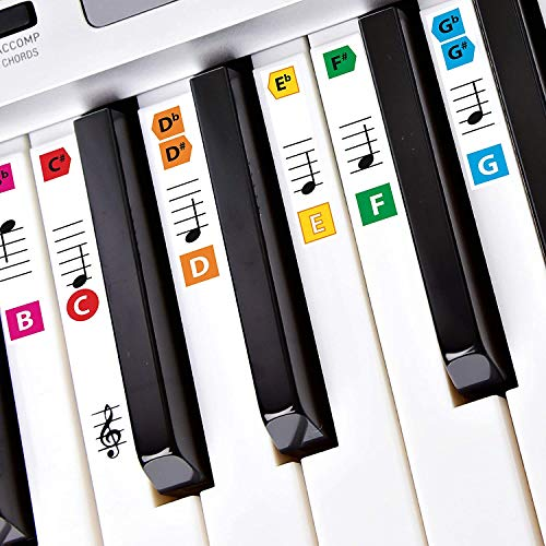 Best Adhesive Piano Key Note Keyboard Stickers for Adults & Children's Lessons, FREE E-BOOK, Great for Beginners Sheet Music Books, Recommended by Teachers to Learn to Play Keys & Notes Faster