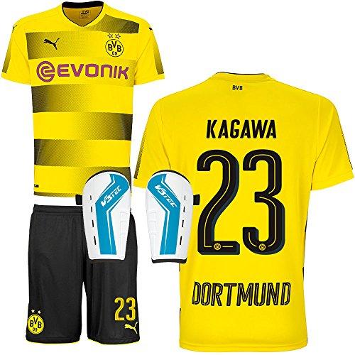 FanSport24 BVB Borussia Dortmund Set bestehend aus Heimtrikot Heimhose Saison 2017 2018 und Schienbeinschoner Farbe Kagawa, Größe XXXL