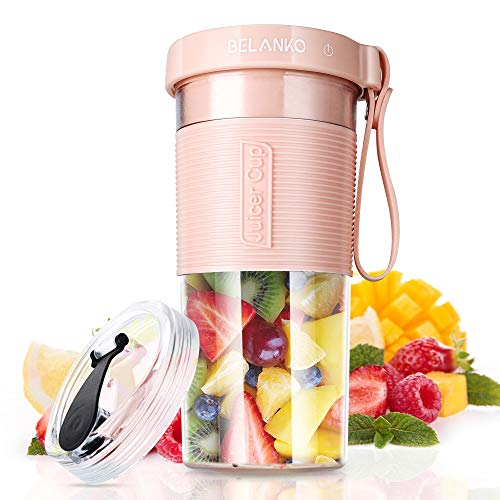 Portable Blender, BELANKO Personal Size Blender for Smoothies, Juice and Shakes, Food Grade Travel Blender Juicer Cup 11/20oz with USB Rechargeable for Home, Sport, Office, Outdoors - Pink