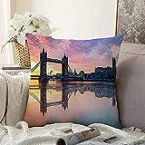 Almohada decorativa para exteriores, torre de reflexión, puente de horizonte, reflejos, amanecer, noche, agua, parques de Londres, diseño, largo, cuadrado, acogedor, funda de cojín, funda de almohada