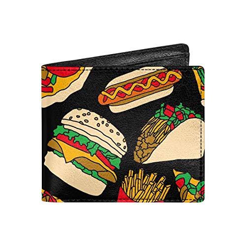 INTERESTPRINT Fast Food Pizza Burger Hotdog Classic Bifold Wallet Coin Pocket Purse for Men, Women