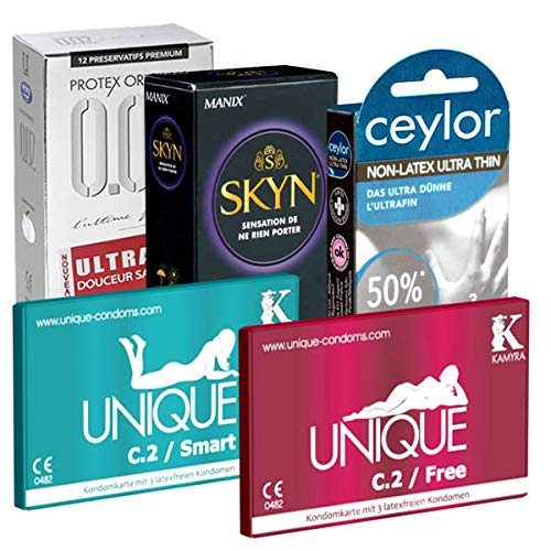 kondomotheke® Latex Free Selection 5-5x condones sin latex (Ceylor, Kamyra, Manix, Protex)