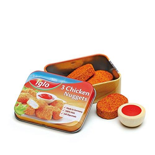 Erzi 15160 Chicken Nuggets von Iglo aus Holz in der Dose, Kaufladenartikel für Kinder, Rollenspiele