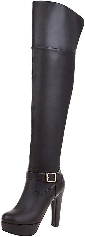 Vitalo Womens Thigh High Heel Zipper Over The Knee Platform Boots