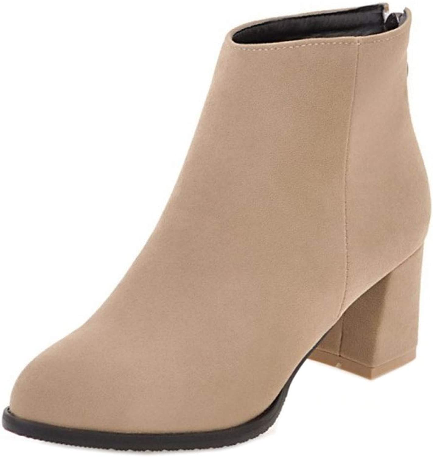 Unm Women's Simple Mid Heel Ankle Boots Zipper