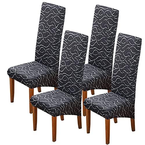 Fundas para sillas de Comedor XL, Fundas Grandes para sillas Estampadas, Universal, Antipolvo, extraíble, Lavable, Extensible, de Licra, para sillas, para Cocina, Hotel, Banquete, 4 Piezas-G