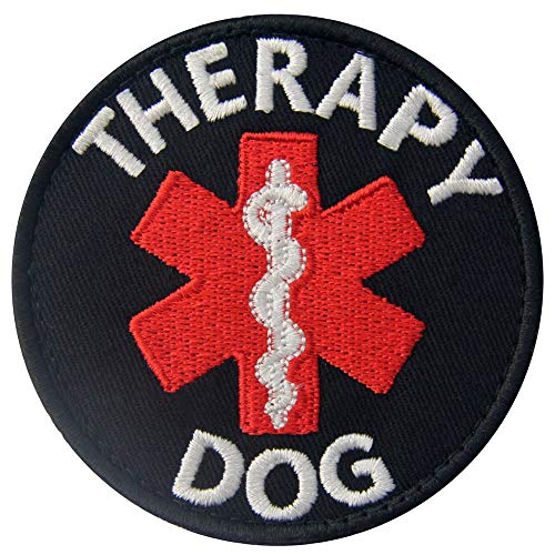 Rocking Planet Therapy Dog Patches EMS ESA Medic Paramedic Star of Life Vests/Harnesses Applique Embroidered Fastener Hook & Loop Emblem