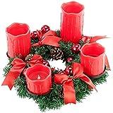 Britesta Adventsdeko-Kerzen-Kranz: Adventskranz mit roten LED-Kerzen, rot geschmückt (Weihnachtsschmuck LED-Beleuchtung) - 6