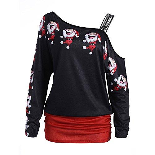 OverDose Damen Bluse Pullover Damen Weihnachten Weihnachtsmann Print Tops Langarm Aus Schulter Party Cosplay Elegante Lange Bluse Shirt Tops(Rot,EU-42/CN-L)