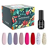 MelodySusie Gel Nail Polish Kit with No Wipe Base and Glossy & Matte Top...