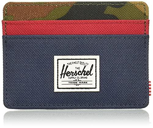 Herschel mens Charlie Rfid Card Case Wallet, Navy/Woodland Camo/Red, One Size US