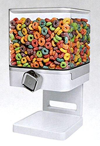 SHINE Doppelter/einzelner Getreide-Spender-Trockenfutter Behälter-Maschine/Lagerung hält 19 Unzen-Nahrung (Einzelspender Weiß)