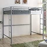 New Silver Metal Full Size Loft Bed