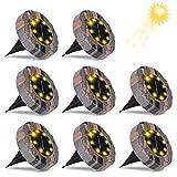 Luces de Tierra Solares, Zorara 8 Pack Luz Solar Exterior Jardin 8 LEDs Blanco Cálido, Suelo Lamparas Solares Exterior Jardin IP65 Impermeable para Calzada, Césped, Escalón, Valla de Escalera