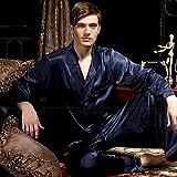 Handaxian Conjunto de Pijama de satén de Seda para Hombre Pijama de Pijama Ropa Informal Pijama de Hombre para Todas Las Estaciones Azul Marino 4XL