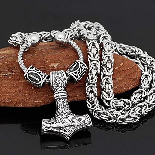 AMOZ Jynqr Norse Viking Thor 's Hammer Talisman Collar, Hombres Lucky Talisman Acero Inoxidable Vintage Mjolnir Amuleto Colgante Heavy Duty Cadena Bizantina, Redonda, 22 Pulgadas,Redondo,24In