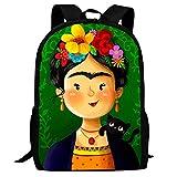 Fri-da KAH-lo Cartton-09 - Mochilas con estampado de patrones lindos para la escuela y los viajes