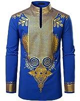 LucMatton Men's African Dashiki Luxury Metallic Gold Printed Mandarin Collar Shirt Royal Blue X-Large