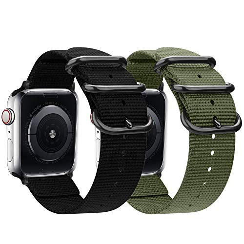 Correa de nailon compatible con Apple Watch Band 44 mm, 42 mm, 40 mm, 38 mm, ligera y transpirable correa deportiva de nailon con hebilla de metal compatible con 5/4/3/2/1