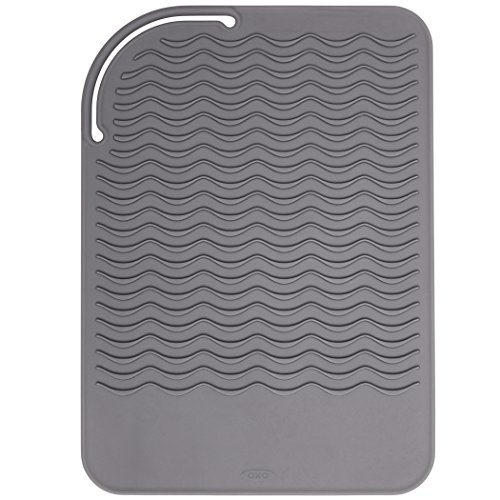 OXO Good Grips Heat Resistant Silicone Travel Mat for Curling Irons and Flat Irons,Gray