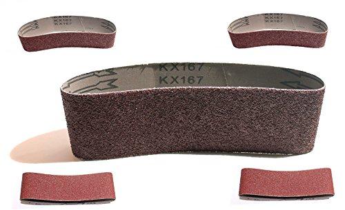 25 Gewebe-Schleifbänder 75 x 533 mm Körnung je 5 x 40/60/80/120/180 für Bandschleifer Schleifband für Handelsübliche Bandschleifgeräte