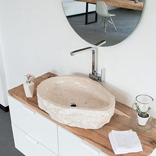wohnfreuden Natur-Stein Marmor Aufsatz-Waschbecken ca. 60 cm Natur Creme Bad WC