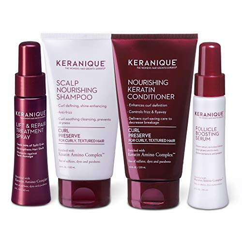 Keranique Thicker Fuller Hair 30 Days Kit with Keratin Shampoo, Conditioner, Follicle Boosting Serum and Lift and Repair Treatment for Curly Textured Thinning Hair, Paraben/Sulfates Free