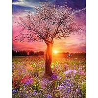 5D DIYダイヤモンド塗装フルスクエア風景ラインストーン写真ダイヤモンド刺繍販売風景ダイヤモンド桜