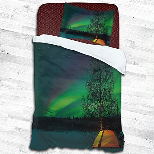 """Aurora Borealis Comforter Bedding Cover Camping Tent Under Magnetic Field Nature Picture Decorative 2 Piece Bedding Set with 1 Pillow Shams 100% Washed Microfiber, 47""""x59"""""""