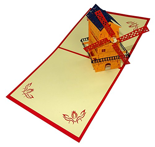 Windmolen Design 3D Pop Up Card wenskaart Verjaardagskaart Holland Souvenir Gift ORANJE