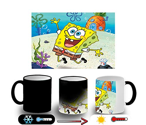 MERCHANDMANIA Taza Magica Bob Esponja Dibujo PIÑA MAR Magic mug