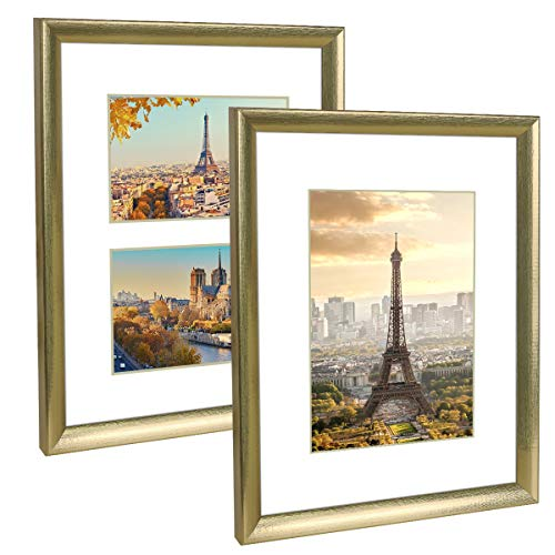 Q.Hou 11x14 Picture Frame Gold Set of 2, Each Frame with 2 Mats, Display 8x10 Or Two Opening 5x7 Photos with Mat & 11x14 Picture Without Mat for Wall Mount (QH006-PF11X14-GD)