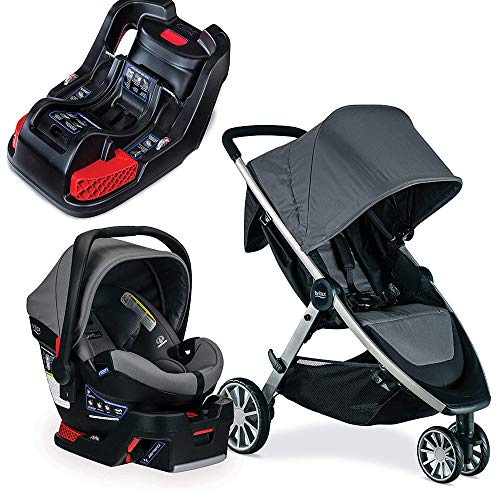 Britax B-Lively & B-Safe Ultra Travel System, Gris with Extra Base Bundle