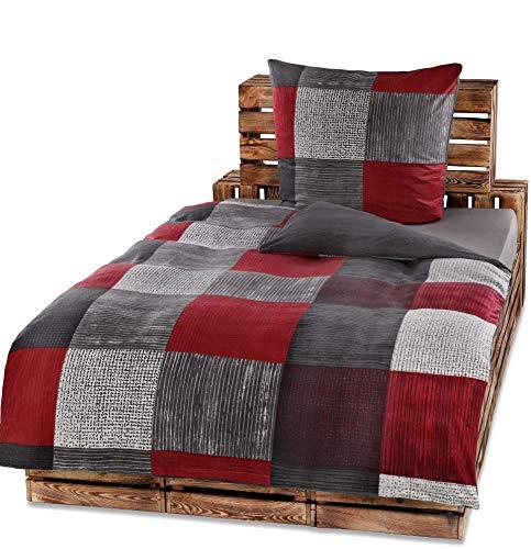 Protex 4 Teilige Winter Bettwäsche Set Fleece Flausch Mikrofaser 135x200 80x80 warme Weiche Winterware