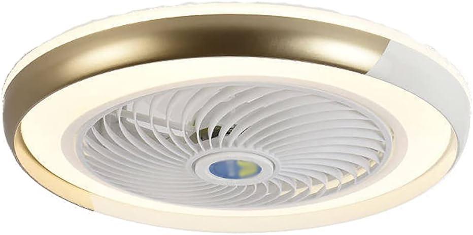 Ventilador de techo de 20 pulgadas con luz regulable, luces LED de 3 colores, ventilador de techo, control remoto, perfil bajo, montaje empotrado, ventilador silencioso con aspas acrílicas,Oro