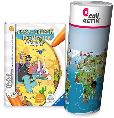 Collectix Ravensburger tiptoi Buch - Lese-Lausch Abenteuer - Dino-Stadt + Kinder Wimmel-Weltkarte | Lesen, Lesemotivation, Dinosaurier