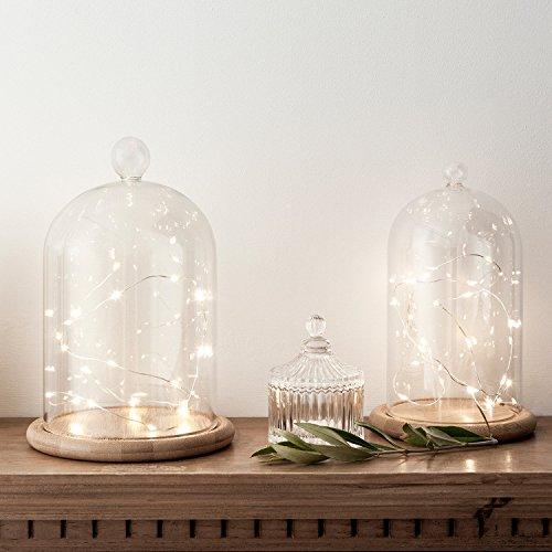Lights4fun Lot de 2 Cloches en Verre Décoratives avec Micro LED Blanc Chaud