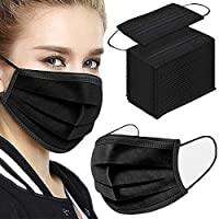 100PCS 3 ply black disposable face shield filter protection from PR61-Black-100