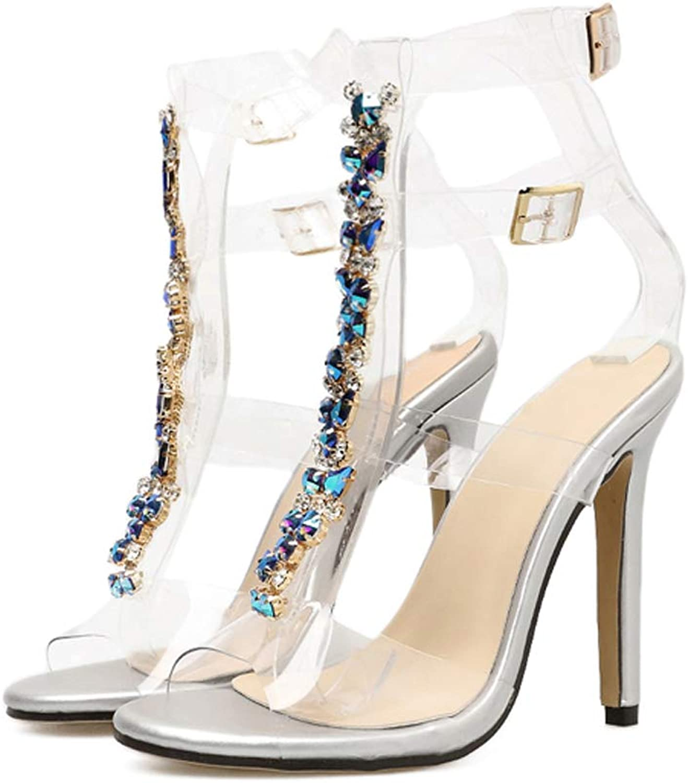 Womens Ankle Strap Clear Rhinestones Stiletto High Heels Gladiator Transparent Sandals