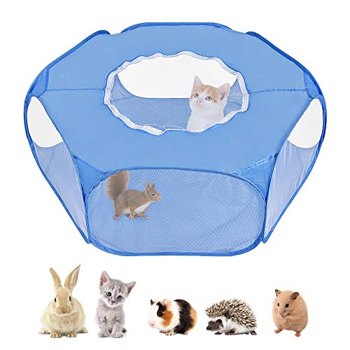 SlowTon Small Animal Playpen, Breathable Transparent Pet Tent with Top Cover Auto-Open Indoor Outdoor Exercise Foldable Yard Fence for Kitten, Puppy, Guinea Pig, Rabbits, Hamster and Hedgehogs